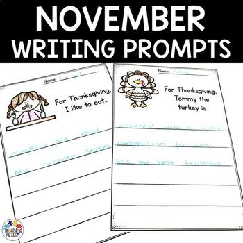 November No Prep Writing Prompt Worksheets