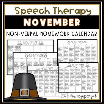 November Non-Verbal Homework Calendar