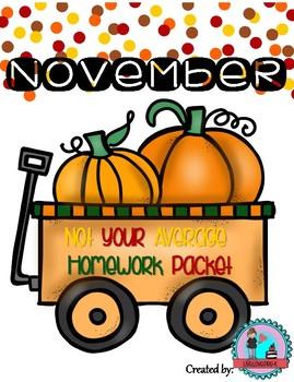 November Not Your Average Homework Packet