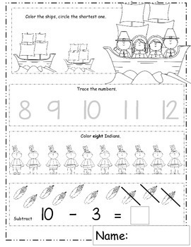 November Math Worksheets with Thanksgiving Math / Daily Math for Fall Activities