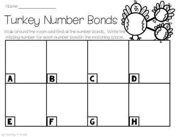 November Number Bonds- Write the Room