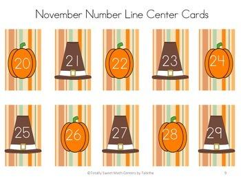 November Number Line Center Thanksgiving Themed! Gr. k-2