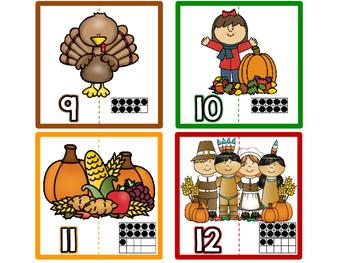 November Number Matching Puzzle/ November Math Center