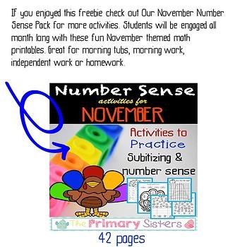 November/Thanksgiving Number Sense Freebie