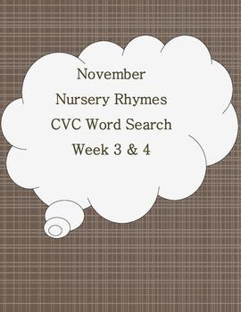 Nursery Rhymes CVC Word Search Literacy Center Week 3 & 4