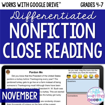 November ONLINE Differentiated Nonfiction Close Reading Texts and Activities