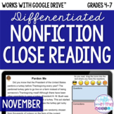 November ONLINE Differentiated Nonfiction Close Reading Texts and Questions