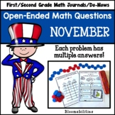 November Open-Ended Math Questions for Journals or Do-Nows (First/Second Grade)