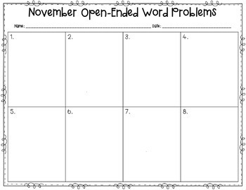 November Open-Ended Word Problems