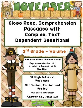 November 3rd Grade Common Core Close Read with Complex Text Dependent Questions