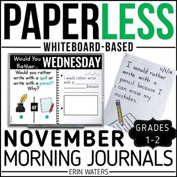 November Paperless 1st & 2nd Grade Morning Work {Whiteboard-based & EDITABLE}