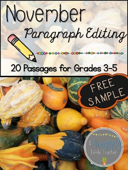 November Paragraph Editing Freebie for Grades 3-5
