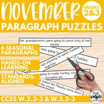 Fall Writing: November Paragraph Puzzlers