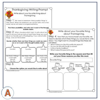 November Paragraph Writing - Graphic Organization Strategies