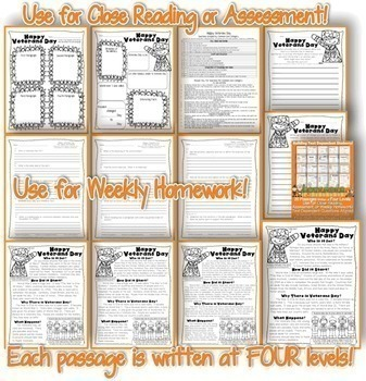 November Passages: Use For Close Reading or Homework *Aligned to Common Core