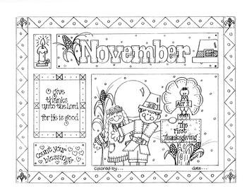 November Picture (with verse) to Color