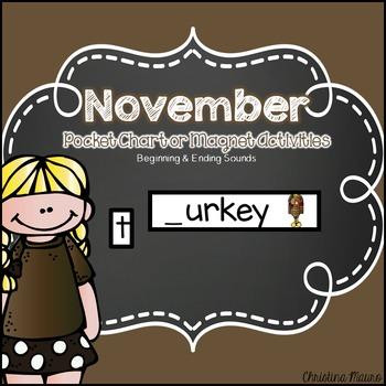 November Pocket Chart or Magnetic Letter Activities