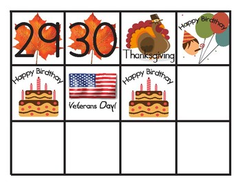 November Pocket Chart Calendar
