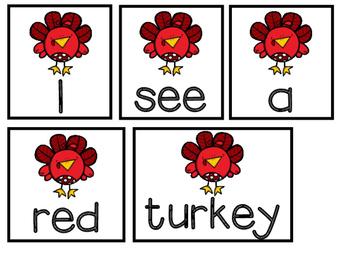 November Pocket Chart Center / Colored Turkey Sentences