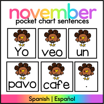 November Pocket Chart Center Spanish/ Colored Turkey Sentences