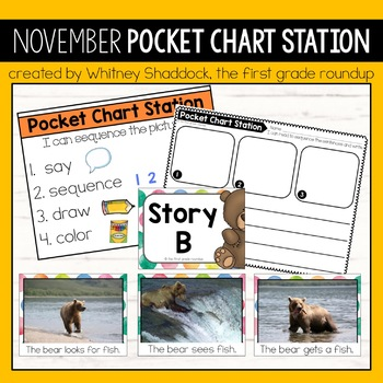 November Pocket Chart Centers for Kindergarten