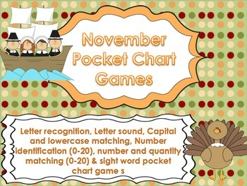 Thanksgiving Pocket Chart Games for Kindergarten CCSS