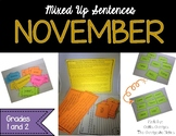November Mixed Up Sentences - Reading, Writing, and Senten