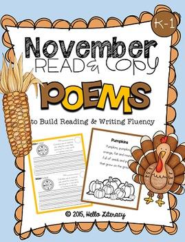 November Poems for Building Reading Fluency & Writing Stam