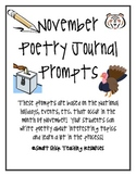 November Poetry Prompts, Set of 20 Different Prompts