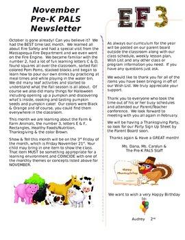 November Preschool Newsletter