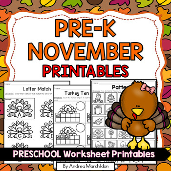Thanksgiving Worksheets for Preschool - November
