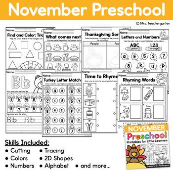 November Preschool Printables