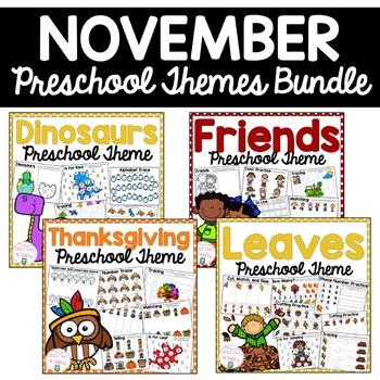 November Preschool Themes Bundle By Little Owl Academy Tpt