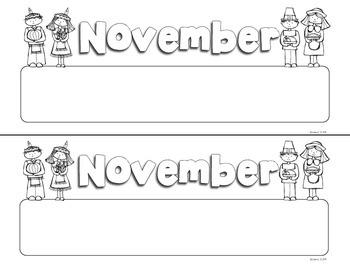 November Print Doodle Tags - Ink Friendly Editable Desk Name Tags