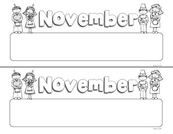 November Print Doodle Tags - Ink Friendly Editable Desk Name Tags