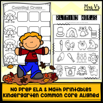 Kindergarten No Prep Phonics, Literacy & Math Work for November