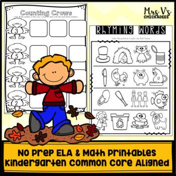 Kindergarten No Prep Phonics, Literacy & Math Work for November