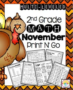 November (NO PREP) Print and Go 2nd Grade