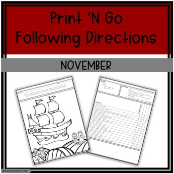 November Print 'N Go Following Directions Packet
