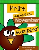 November Print - That's it! Kindergarten Math and Literacy