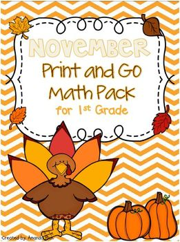 November Print and Go Math Pack for First Grade