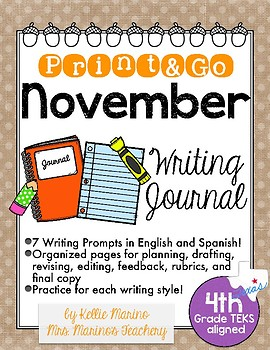 November Print and Go Writing Journal (English and Spanish)