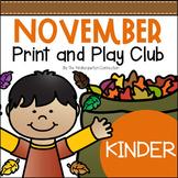 November Print and Play Club - Kindergarten