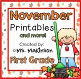 November Printables - First Grade Literacy and Math
