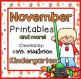 November Printables - Kindergarten Literacy and Math