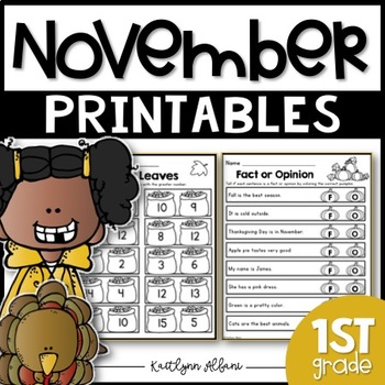November Printables - First Grade Math and Literacy Packet
