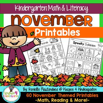 November NO PREP - Math & Literacy Printables (Kindergarten)