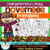 November NO PREP - Math & Literacy Printables (Kindergarten)