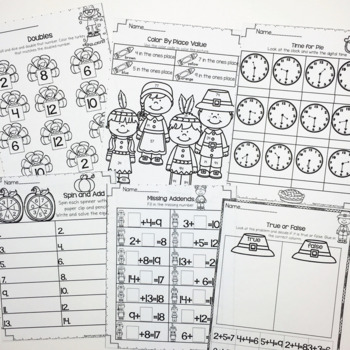 November Printables- Math and Literacy On The Go