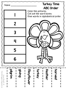 November Thanksgiving Printables - Math and Word Work